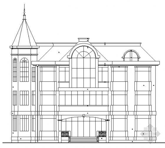 某欧式三层高级商住楼建筑施工图