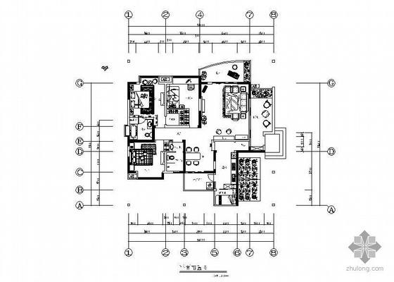 欧式风格三居样板房装修图