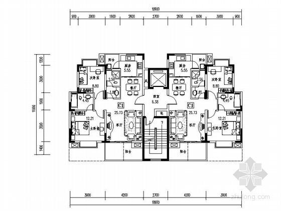 某多层、小高层板式住宅户型图(南梯、85平方米)