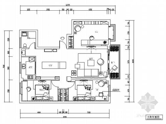 [新疆]现代简约时尚两居室装修CAD施工图(含效果图)