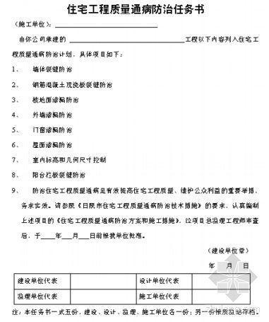 住宅工程质量通病防治任务书[空白表格]