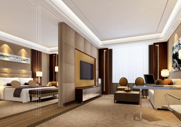 [山东]青岛温泉酒店全套施工图(附效果图)-二层套房效果图