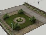 公园节点su模型