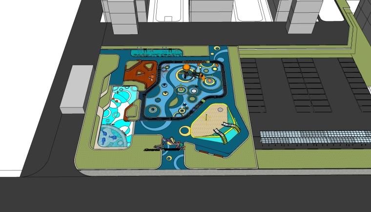 [广东]锦绣国际销售中心儿童活动区景观方案设计su模型(含方案文本)
