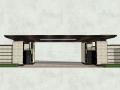 简约新中式风格入户大门围模型设计