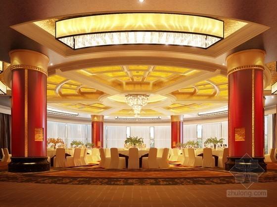 中国饭店宴会厅3d模型下载