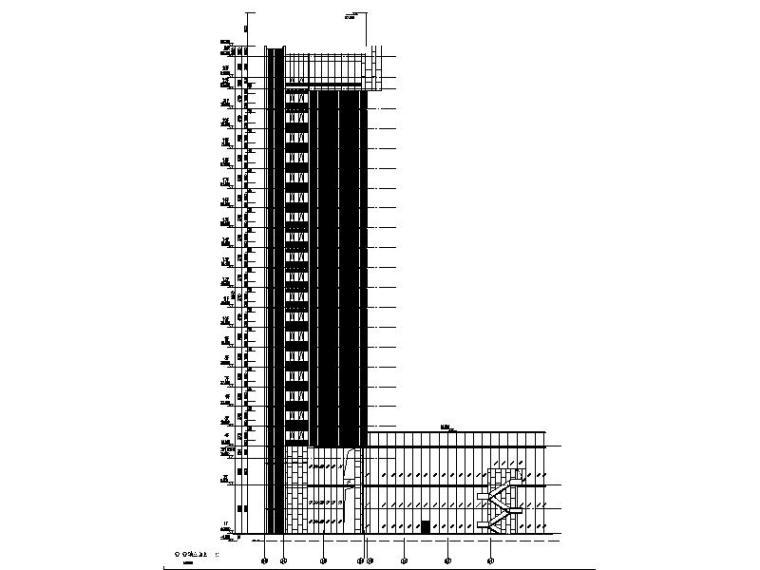 [广东]现代风格高层酒店建筑设计施工图立面图