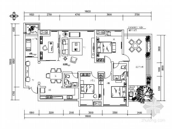 [四川]时尚简欧风格四居室样板房装修施工图