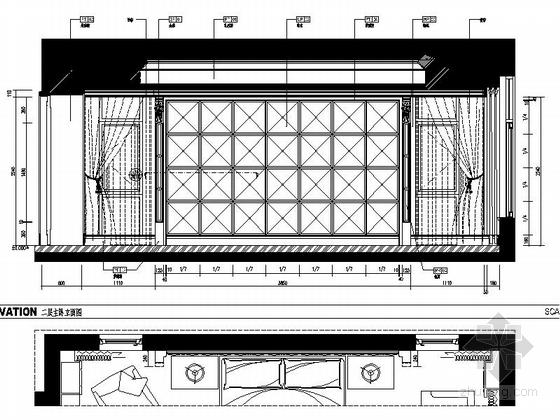 [浙江]某公馆时尚简欧三层别墅装修图(含效果)主卧立面图
