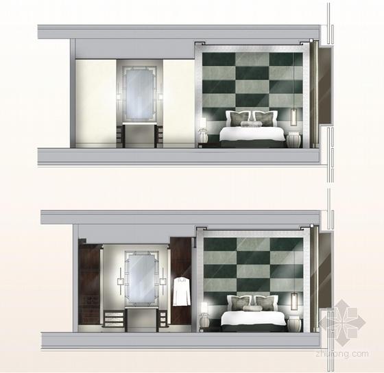 [上海]精品奢华雅致古典风格宾馆室内装饰设计方案-[上海]奢华雅致古典风格宾馆室内装饰设计方案客房立面图