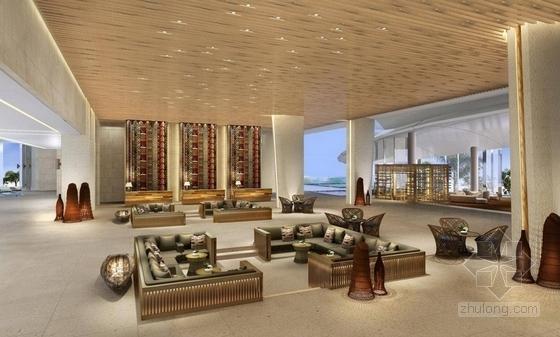 [海南]雅致海滨地带五星级度假酒店客房装修施工图(含全套酒店方案)大堂效果图
