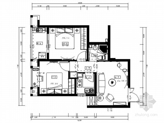 [福建]温馨之家简欧两居室样板房装修图(含效果)