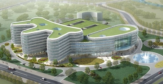 [广东]弧形立面高层玻璃幕墙医院建筑设计方案文本(细胞结构 品字布局)