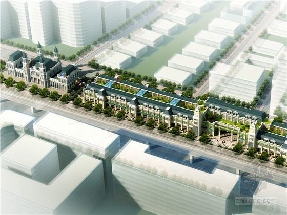现代商业街两层资料下载-[湖北]狭长形特色文化休闲商业街设计方案文本(含2个方案 知名设计院)
