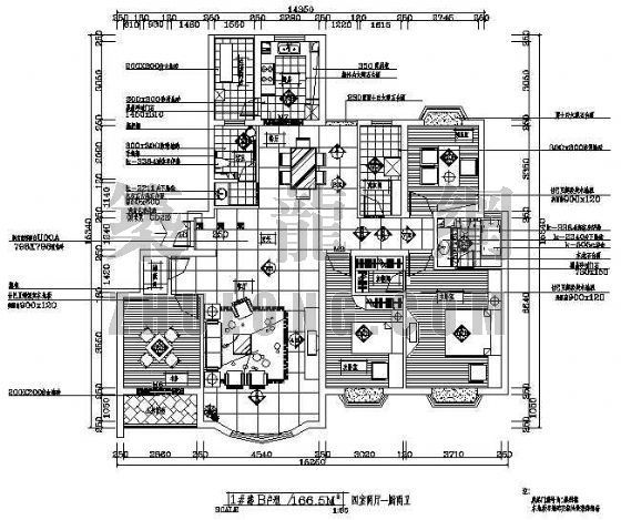 某户型装修平面图(四室两厅两卫)