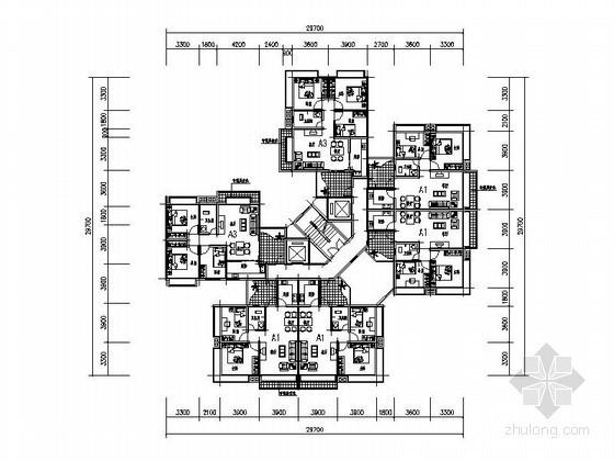 某高层住宅一梯六转角户型平面图(63、75、86平方米)