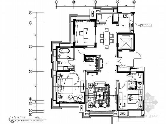 [太原]某欧式奢华三居室样板房装修图(含效果)