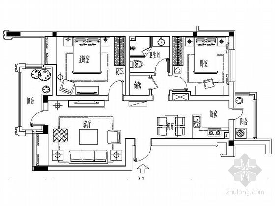 [哈尔滨]现代时尚两居室样板房室内装修图(含实景)