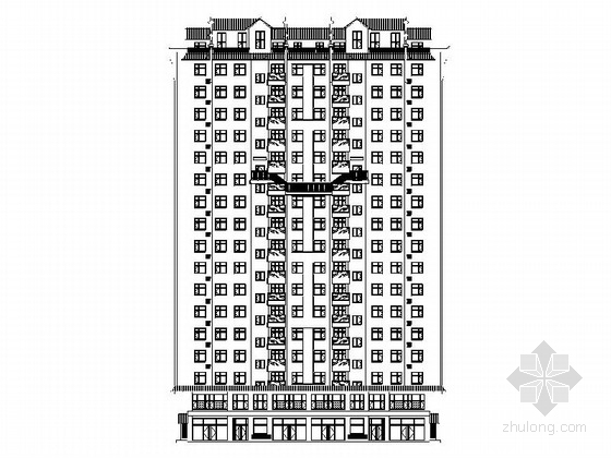 17層中式風格住宅樓及單體建筑設計施工圖(立面極具特色)