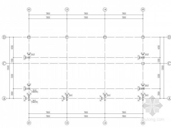 五层框架加建钢结构餐厅施工图-柱脚锚栓布置图