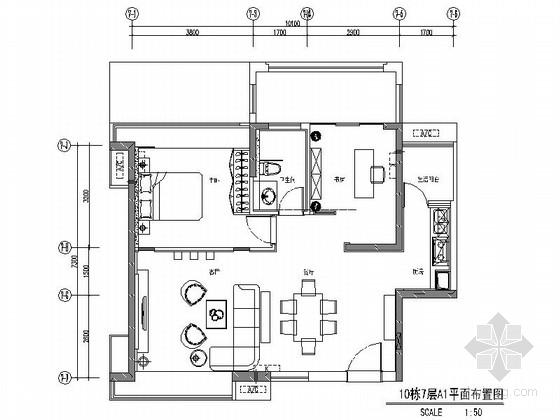 [深圳]大型商住房新中式两居室样板间装修图(含效果)