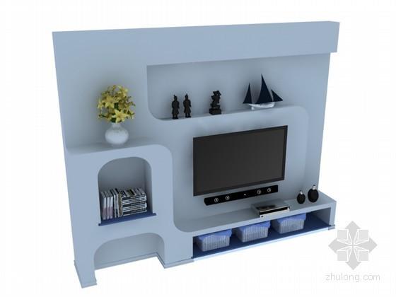 现代电视背景墙3D模型下载