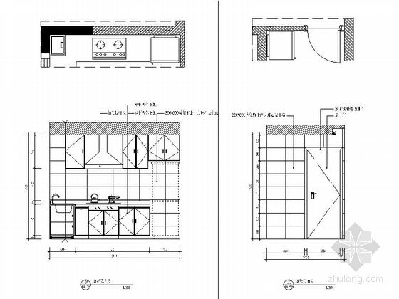[浙江]88平现代两居室样板房全套施工设计施工图(含预算效果图软装方案推荐!)-[浙江]88平现代两居室样板房全套施工设计施工图厨房立面图