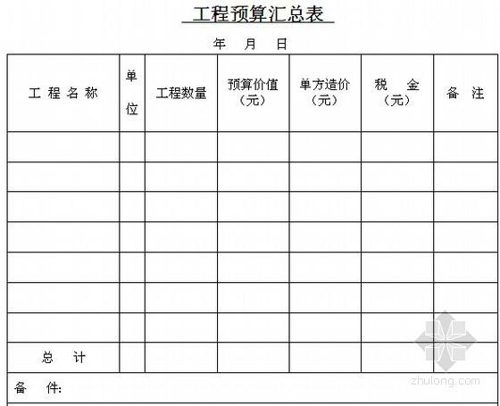施工单位建设项目概预算、招投标常用表格(全套35类)