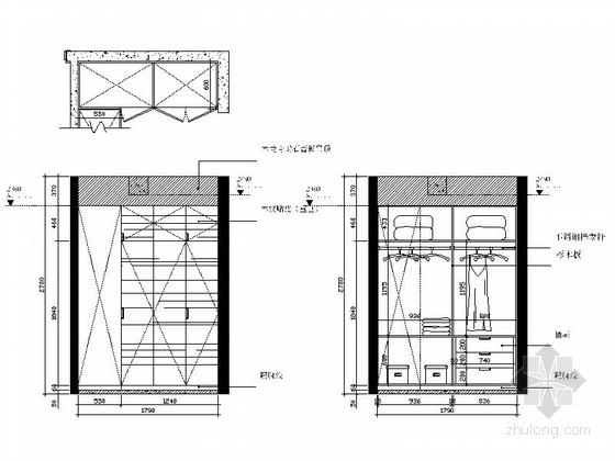 [广州]电梯洋房时尚现代四居室装修施工图主卧立面图