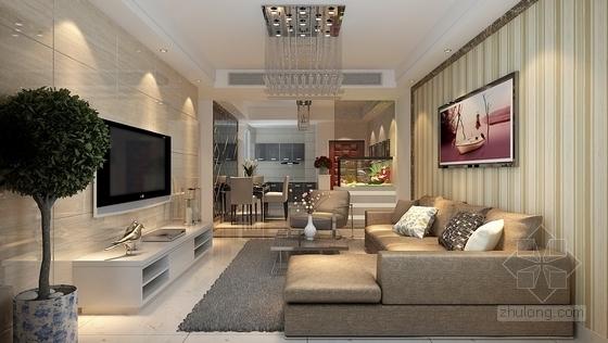 [湖南]创新型小区现代简约两居室设计装修图(含效果)客厅效果图