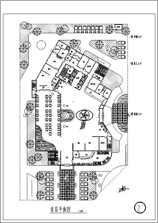 3套现代宾馆酒店建筑设计施工图CAD_9