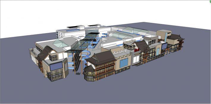 新中式风格商业街SU模型