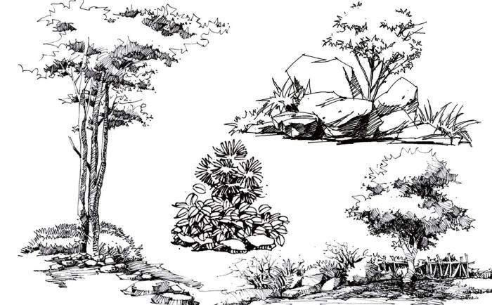 风景园林手绘线稿,可下载打印_3