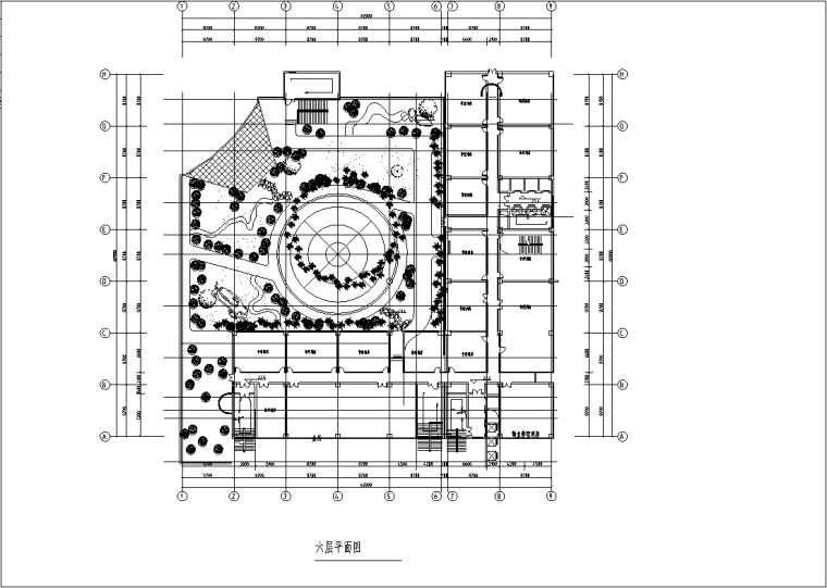3套商住综合楼建筑设计施工图CAD-现代高层商住综合楼建筑设计商业部分平面图