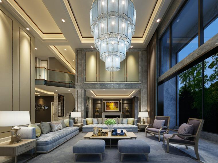 高大别墅客厅3D模型下载