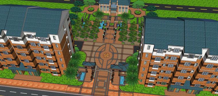 新中式住宅建筑SU模型