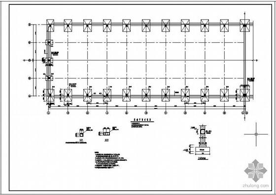 某24米跨混凝土轻钢屋面带气楼排架结构设计图
