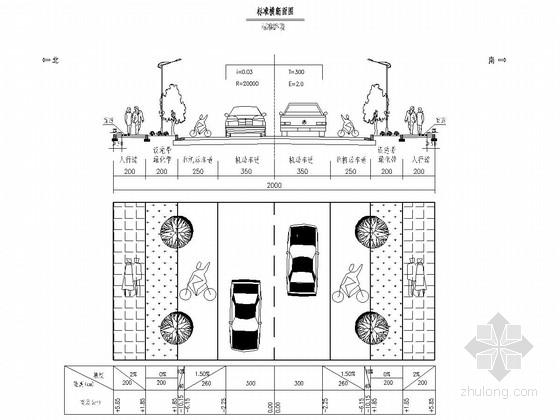 双向二车道城市支路工程全套施工图(130张 道路 交通设施 绿化)