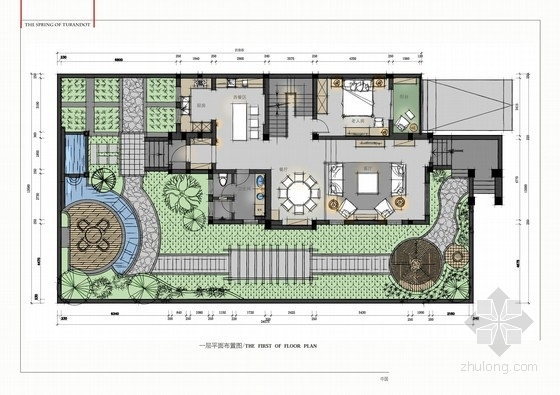 园林布置别墅cad资料下载-[江宁]法式贵族风情两层别墅室内CAD施工图(含实景图及彩色平面)