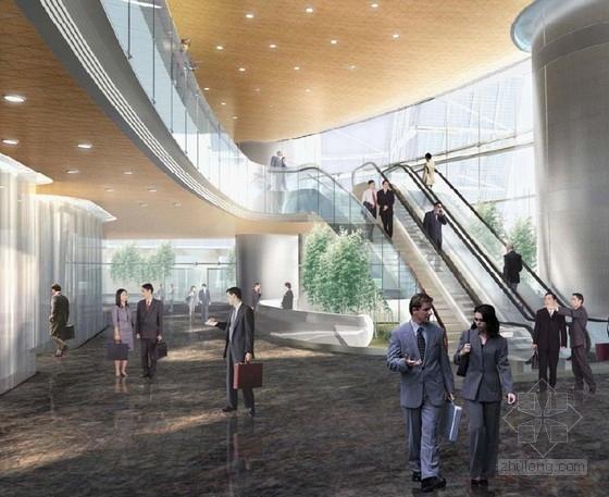 [上海]环超高层地标式摩天商务现代办公大楼设计方案办公大堂效果图