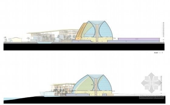 [海南]八爪鱼六星级酒店建筑设计方案文本(国际著名事务所)-现代风格主题酒店建筑设计剖面图