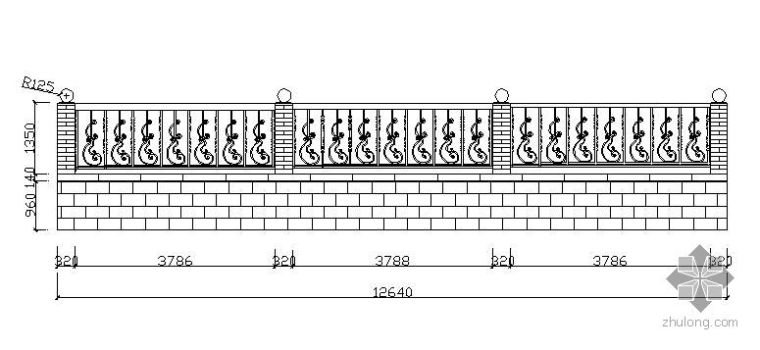 铁艺围墙施工立面图