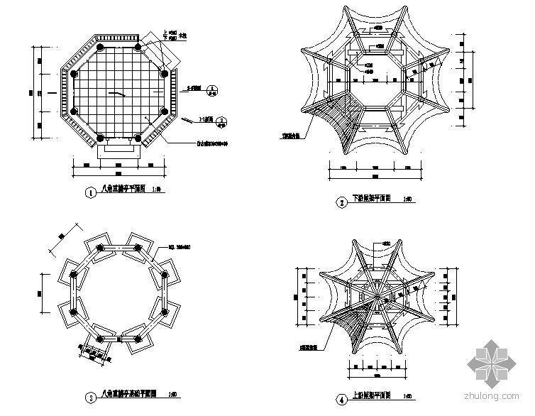 某重檐八角亭节点构造详图