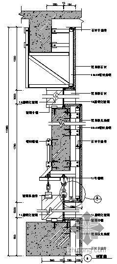 某吊挂式玻璃幕墙节点构造详图(十一)(A剖面图)