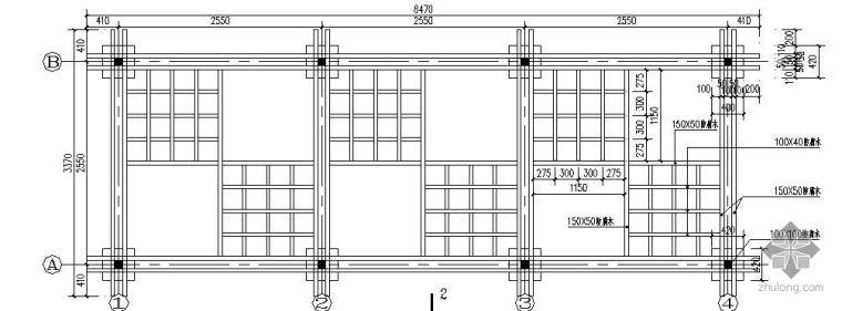 居住区常用廊架施工详图_1