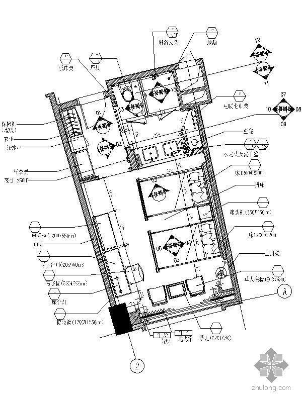 [珠海]某国际酒店D型样板房施工图