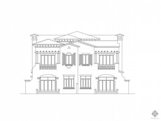 某二层欧式双拼别墅建筑施工图