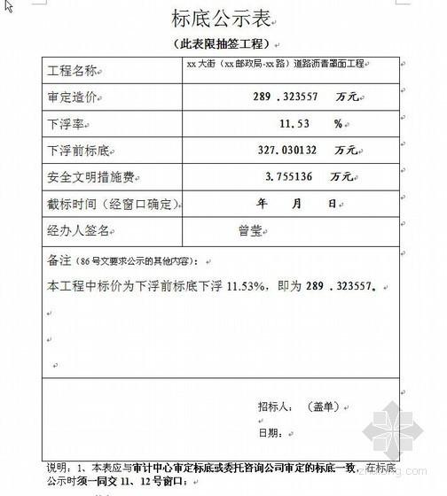 深圳某道路沥青罩面工程预算书