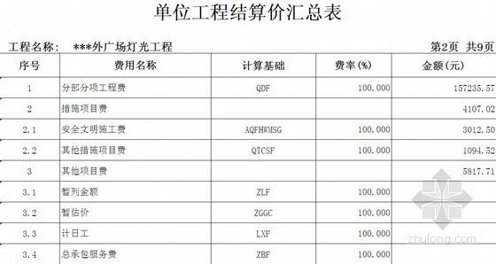 [广东]广场灯光工程清单报价(广东2010定额)