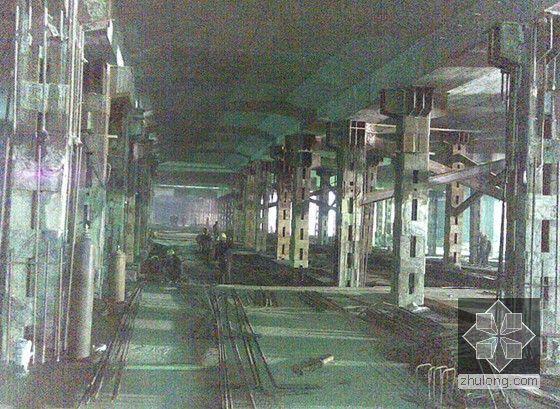 [江苏]逆作法地铁双柱三跨框架车站施工组织设计166页(高压旋喷桩复合挡土墙)-结构施工阶段